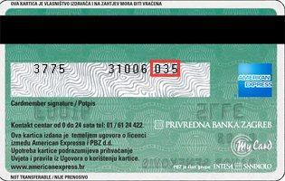 American Express Kartica Zadnja Strana